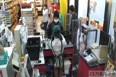 Bottomless Japanese supermarket employee at register