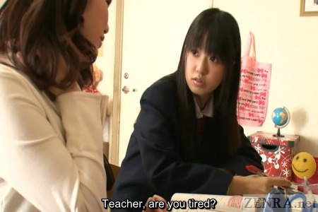 Concerned Japanese student talks to teacher at home