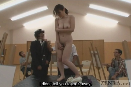 ENF shy Japanese wife covers privates in nude art class