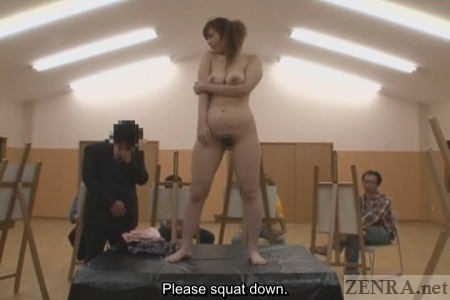 Shy ENF Japanese wife in nude art classroom