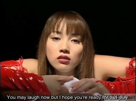 POV red latex Rin Tomosaki caresses testicles