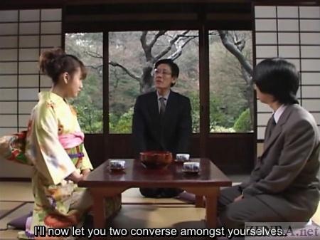 Rin Tomosaki in kimono at tea house