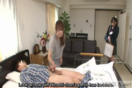 Demure Japanese schoolgirl watches hospital handjob