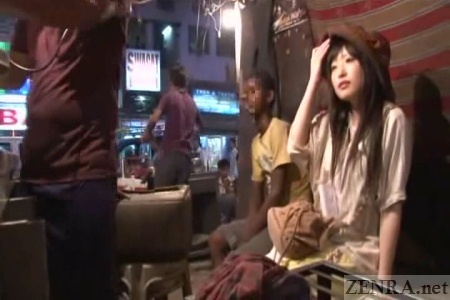 Pale Japanese AV star waits for Lassi in Delhi