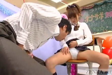 Spread eagle schoolgirl ogled by customer