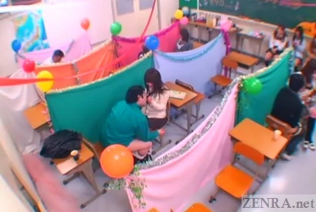 Japanese schoolgirl masturbation support cafe overhead view