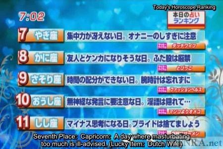 Unlucky Japanese horoscopes on news