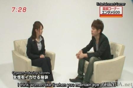Japanese reporter in smart suit interviews AV actor