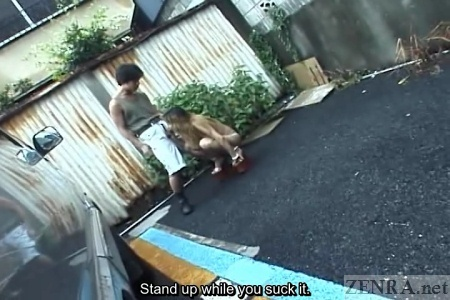 Nude gyaru crouches in public while giving blowjob