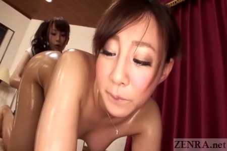 Aroused Japanese woman anal massage