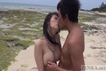 Busty Japanese woman breasts squeezed while kissing
