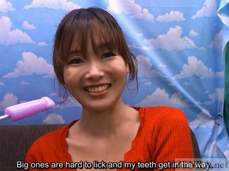Japanese woman talks abut licking big candy