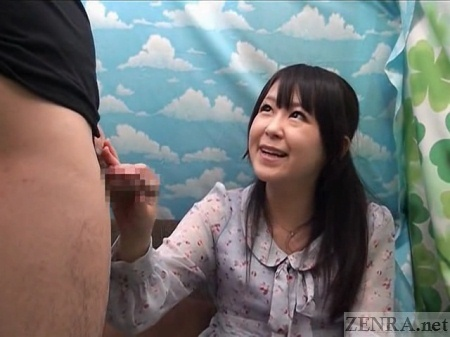 Japanese CFNM handjob with amateur