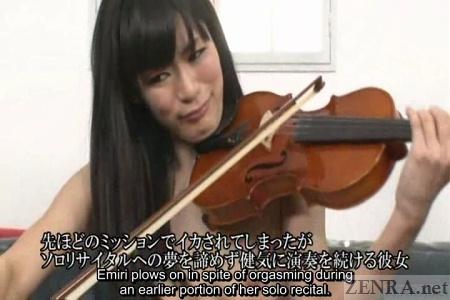 Japanese woman plays violin naked