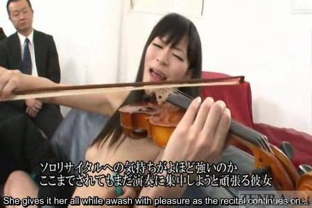 CMNF violin recital with orgasm