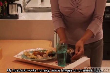 Japanese wife prepares dinner