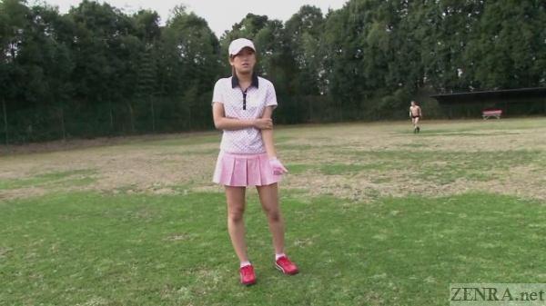 Japanese female golfer in pink uniform