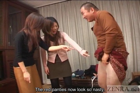 Tiny panties on heavyset Japanese man