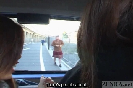 Japanese man in drag dumped out of car