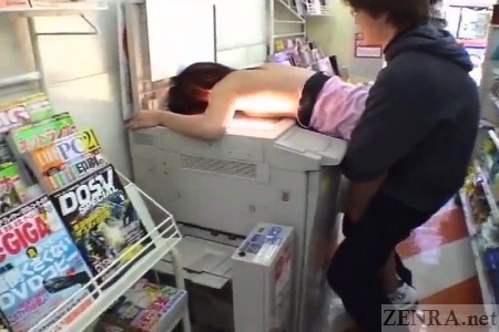 CMNF ENF nudist Japanese convenience store prank