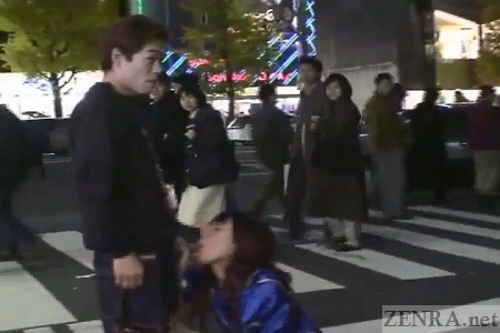 Outdoor Japanese blowjob in public