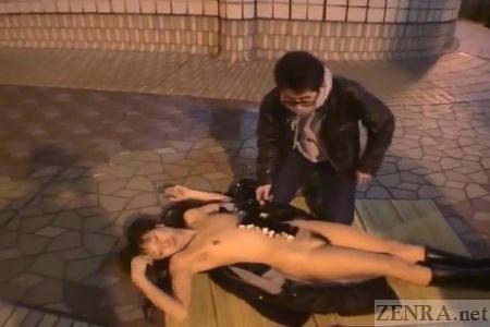 CMNF Japanese public naked sushi