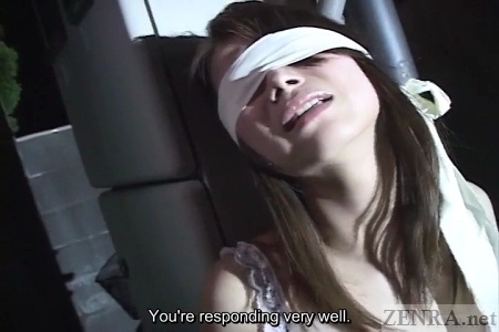 White blindfold clad Japanese woman
