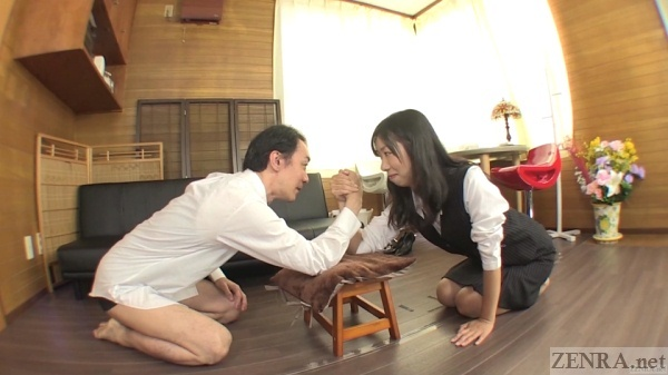 Japanese arm wrestling office lady and boss