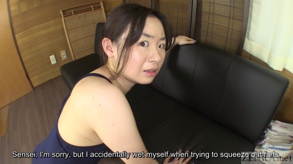 Embarrassed Japanese woman in swimsuit breaks wind