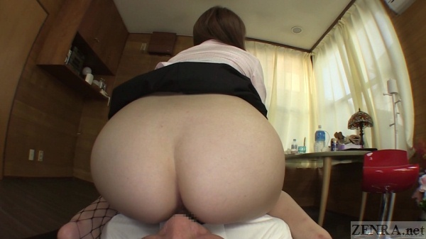 Big Japanese butt farting on the face of boss