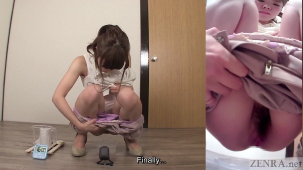 Japanese woman squats to urinate