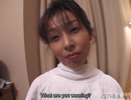 Japanese milf wearing towel