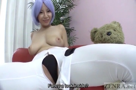 Topless spread Japanese woman in cosplay