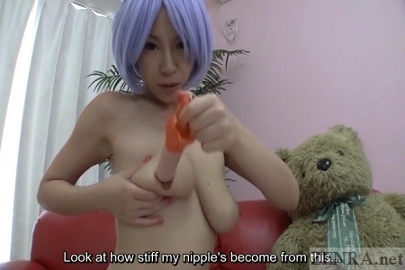 Topless bizarre Japanese food play