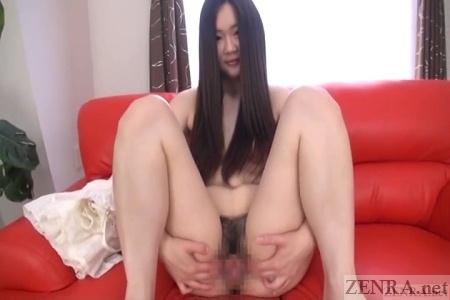 Spread vagina on long hair Japanese amateur