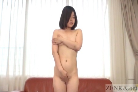 Embarrassed and naked Japanese virgin