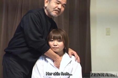 Japanese woman has breasts felt