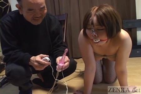Japanese ENF ball gag with anal vibrator