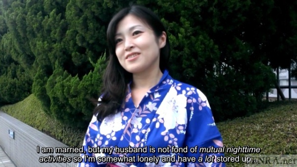 Japanese milf in blue yukata interviewed outside