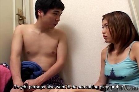 Japanese hallway couple talks sex