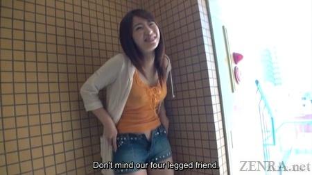 Saki Hatsumi prepares to strip pants