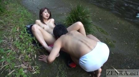 Saki Hatsumi eaten out next to small river