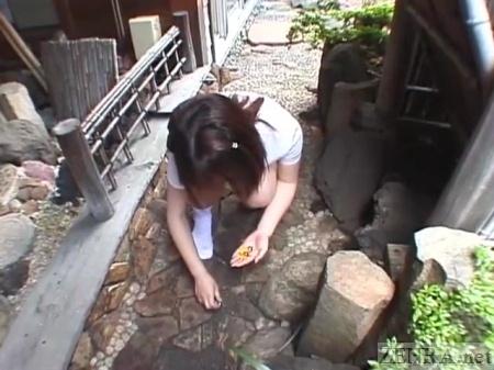 Bottomless Japanese schoolgirl picks up vagina marbles