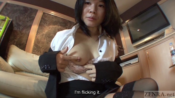 Japanese contract employee shows breasts