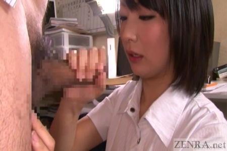 Japanese CFNM handjob by Kana Ohori