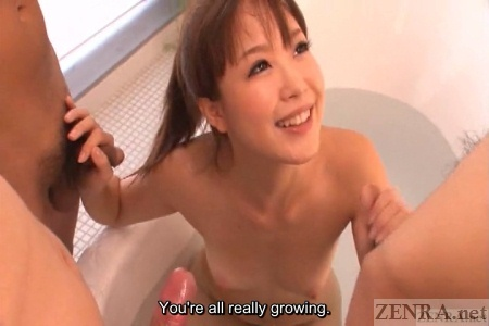 Rin Momoka double handjob in bath