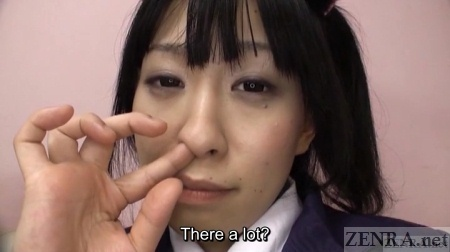 Yui Kyouno picks her nose