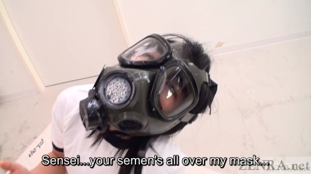 Schoolgirl in gas mask covered by cum
