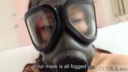 Fogged up gas mask on Japanese woman