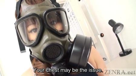 Gas mask swimsuit schoolgirl in doctors office